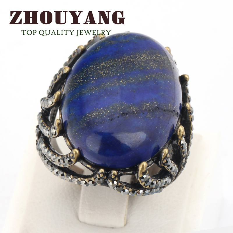 ZHOUYANG Top Quality Retro Style Antique Party Ring Blue Semi-precious Stone Full Sizes WholesaleZYR394