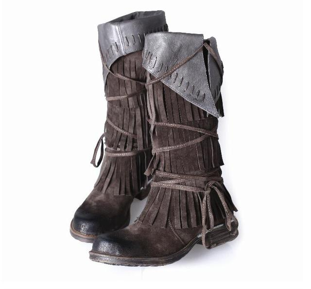 BEANGO suede leather martin boots flat bandage tassel boots square toe women boots knee-high zipper winter leisure female boots