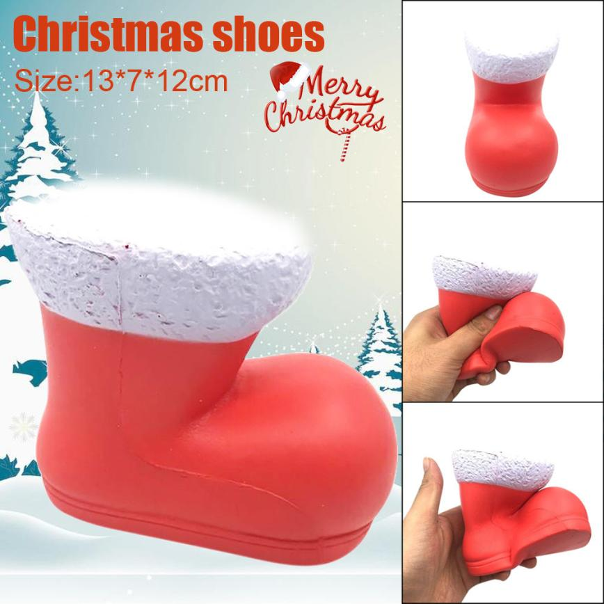 13cm Christmas Shoes Cream Scented Squishy Slow Rising Skuishy Toys Phone Charm  5.16