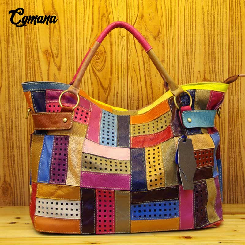 CGmana 100% Genuine Leather Women Handbag Colorful Leather Patchwork Shoulder Bag Hit Color Large Capacity Hollow Stitching Bags cgmana 100% genuine leather women handbag colorful leather patchwork shoulder bag large capacity hollow stitching luxury bag