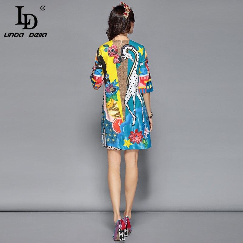 LD LINDA DELLA Piste Designer Robe D'été Femmes de Demi De Douille de Luxe Sequin Animaux Imprimer Casual Lâche Élégante Robe Robes - 4