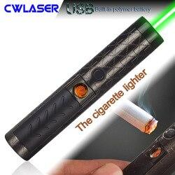 CWLASER High Power 532nm akumulator zielony laserowy długopis z funkcją zapalniczki (czarny)