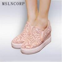 Más el tamaño 34-45 Nuevas Mujeres Del Verano Zapatos Casuales Los Recortes de Encaje Floral Hueco Transpirable Plataforma Zapatos Internos Aumento de la Mujer zapatos
