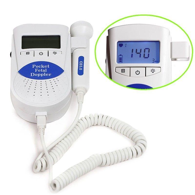 Blue-Pocket Fetal doppler backlight LCD baby monitor SONOLINE 2MHZ Probe CE FDA