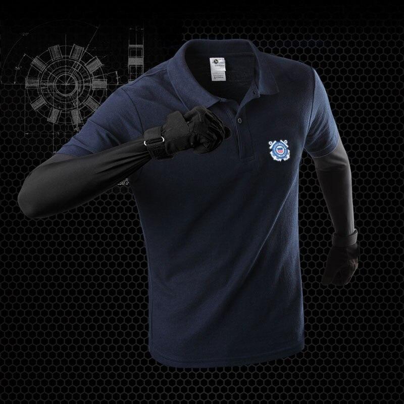 MEGE Brand Outdoor Sports Military Tactical POLO Shirt Lapel Print T-Shirt Mens Short-Sleeve T-Shirt US Coast Guard Pattern