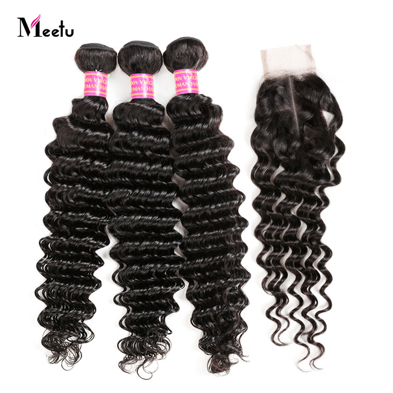 Middle Part Deep Wave Sew In With Closure 2x4 Indian Hair Bundles With Lace Closure Natural Color Human Hair Weave With Closure