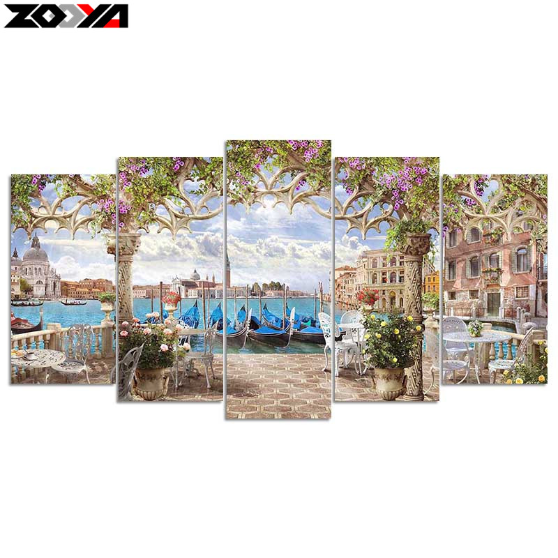 Zhui Star 5d Diy Diamond Embroidery Seaside Villa Diamond Painting Cross Stitch Full Drill Rhinestone Mosaic