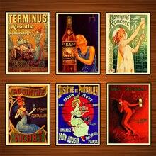 Cartel de vino de bebidas alcoholicas Vintage absinthe persan exportación lienzo clásico pinturas pared carteles pegatinas decoración del hogar regalo