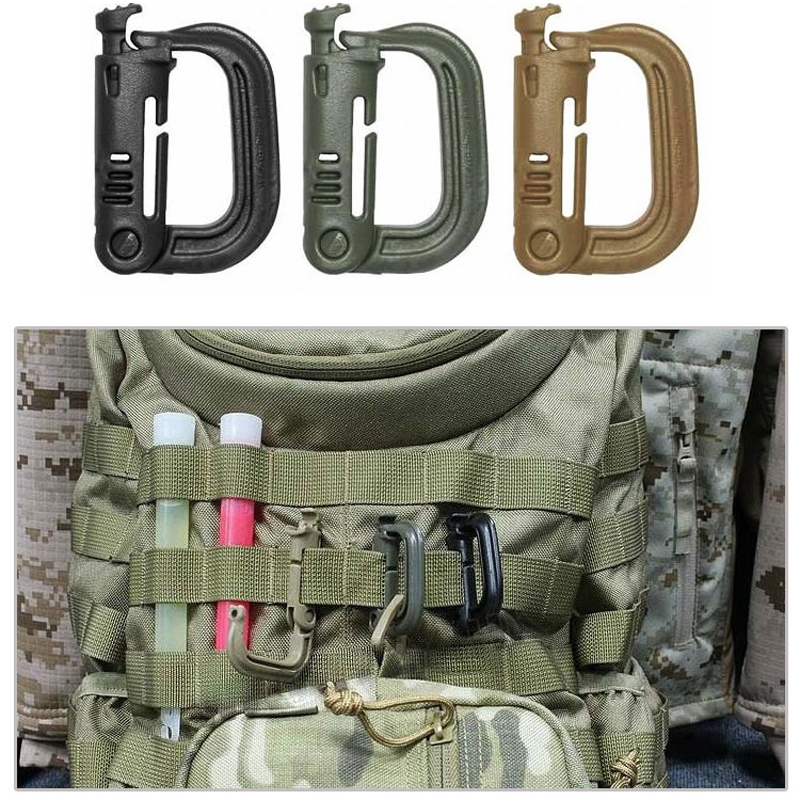 Image 2 - 5 PCS New Outdoor Climbing Tools Carabiners & Quickdraws D Locking Ring Plastic Clip Snap Type Ring Buckle Packpack Fast buckle-in Climbing Accessories from Sports & Entertainment