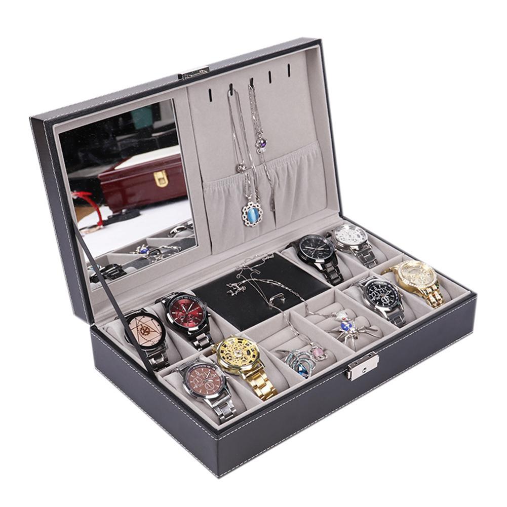 LinTimes grilles mixtes PU cuir montre boîtier rangement organisateur boîte de luxe bijoux anneau affichage boîtes de montre