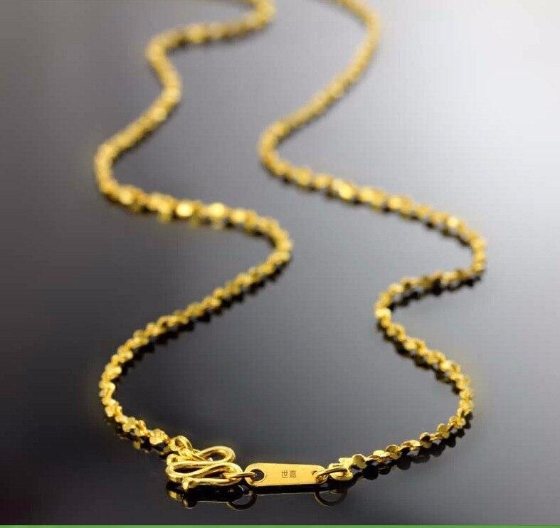 Аутентичные Твердые 24 К желтого золота цепи Цепочки и ожерелья/полный звезды Сеть Цепочки и ожерелья/3.45 г