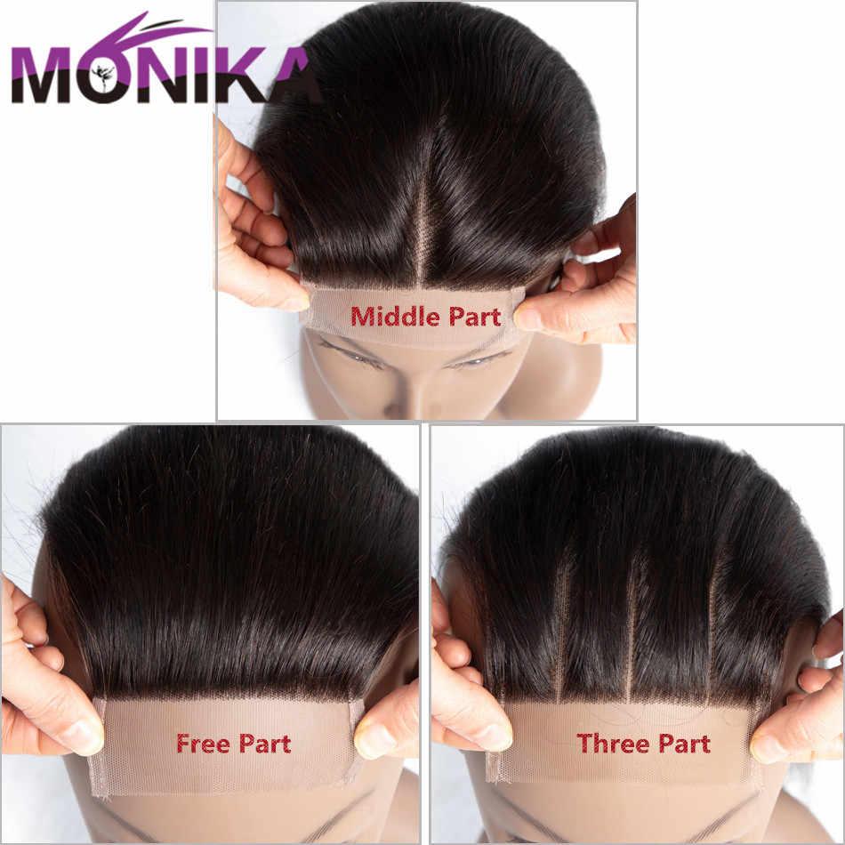Monika 4x4 Lace Closure Brazilian Body Wave Human Hair Bundles Free Part Middle Part Swiss Closure Natural Color Free Shipping