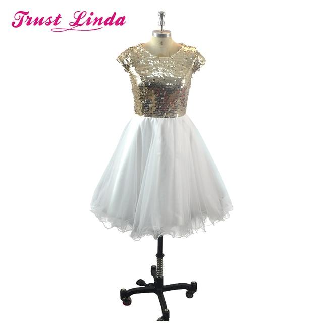 89fbf0b51cb Sexy Glitter Gold Sequin Short Prom Gown Robe de Cocktail Dresses Vestido de  Festa for Homcoming Wedding Party