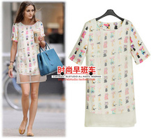 Free shipping The new summer 2014 women's small pure and fresh and cartoon printing straight stitching organza dress