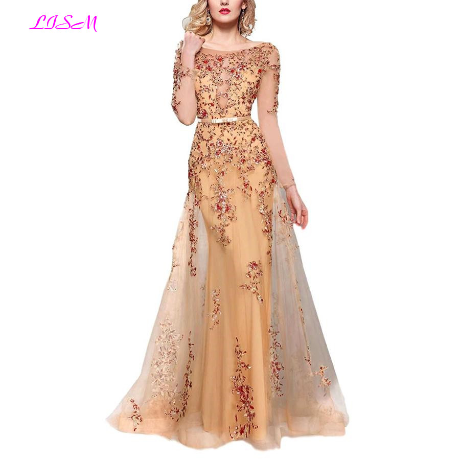 Illusion Long Sleeve Embroidery Formal   Evening     Dresses   Scoop Beaded Tulle Prom   Dress   Elegant Floor Length vestido de festa longo