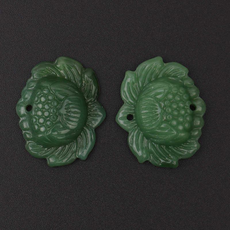 Яркий ручной резной цветок лотоса натуральный зеленый жадеит ювелирный кулон