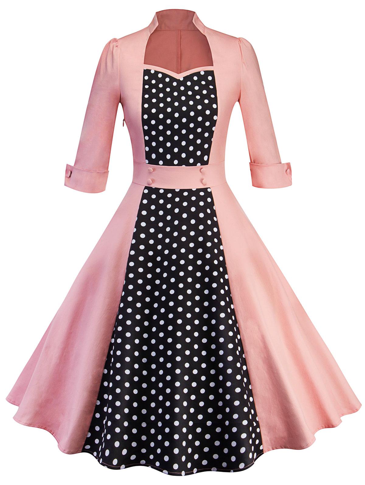 Fashion Polka Dot Print Women Vintage Dress 1960s Audrey Hepburn Retro Dress Elegant Sweetheart Neck 3/4 Sleeve Vestidos Платье