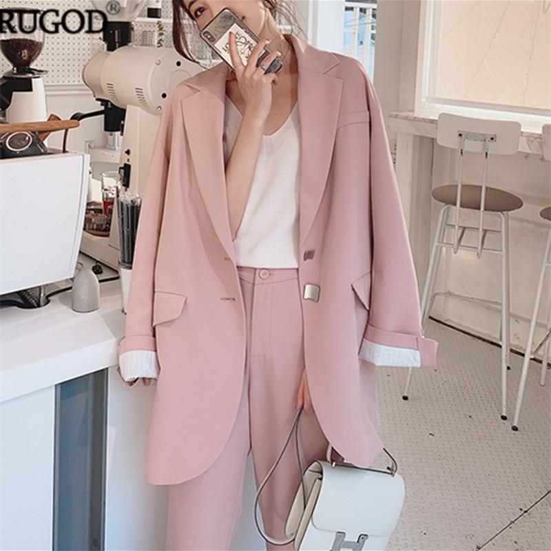 RUGOD 2019 Elegant Long Women Blazer Office Lady Business Blaser Jacket Women Fashion Metal Button Long