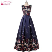 Pattern Floral Print Prom Dresses 2018 Maxi Dress Plus Size Clothing Navy A Line Sundress Evening Long Formal Women DQG104