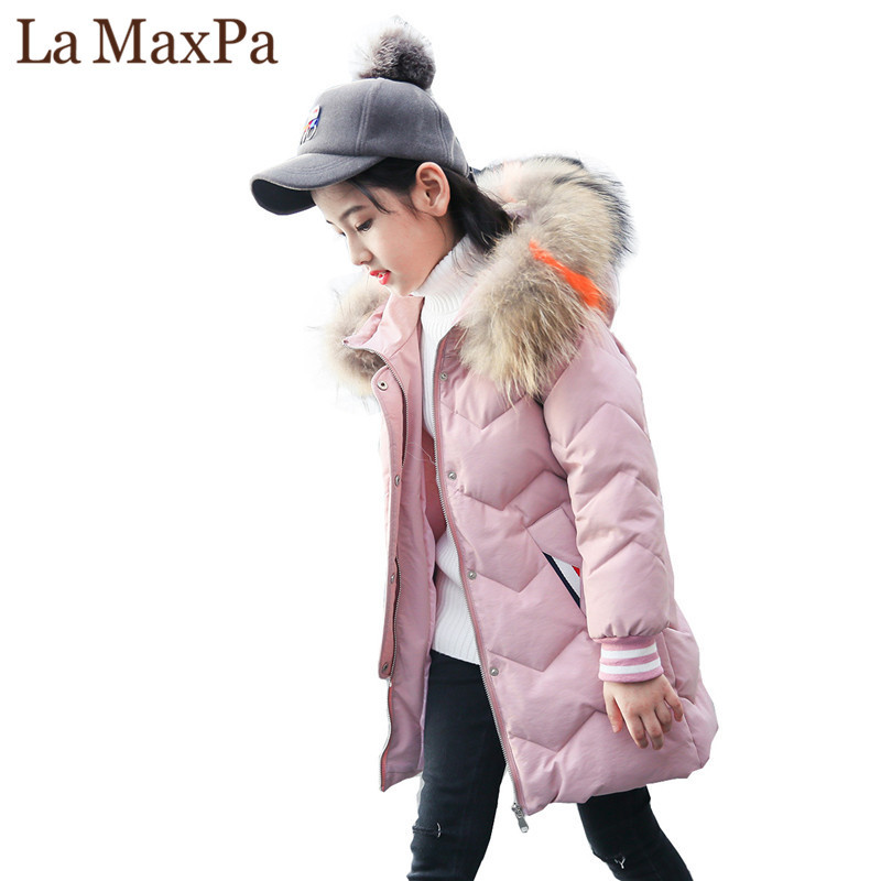New 2018 Fashion Children Winter Jacket Girl Winter Coat Kids Warm Thick Fur Collar Hooded long down Coats For Teenage 5Y-14Y children winter coats new kids girls wool collar coat woolen jackets thick warm hooded jacket princess 4 14y child clothing