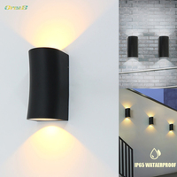 Art Deco Different Up Down Waterproof Outdoor Wall Lights Black 240V /12V Wall Mounted Fixtures Warm /Cold White