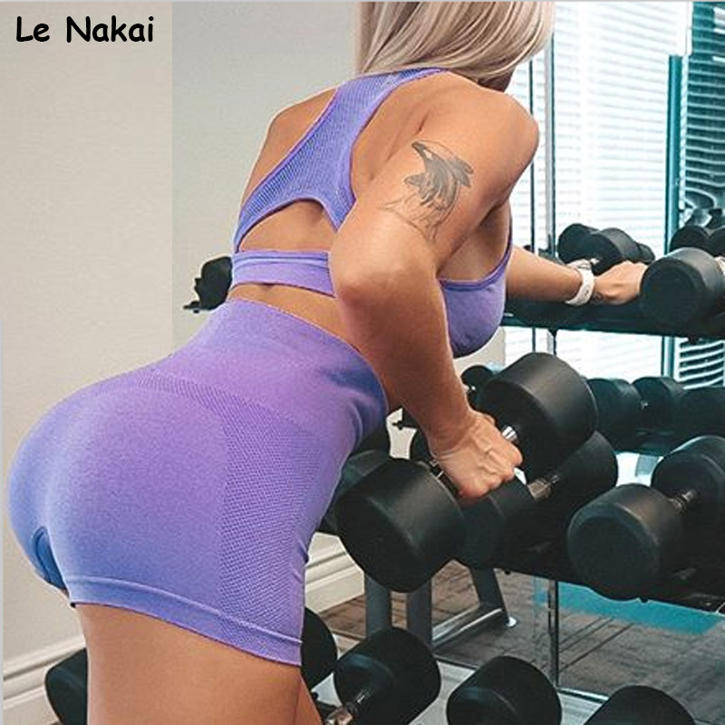 New summer 2 piece  gym clothing for women seamless yoga set workout gym crop top scrunch butt legging sets sports wear