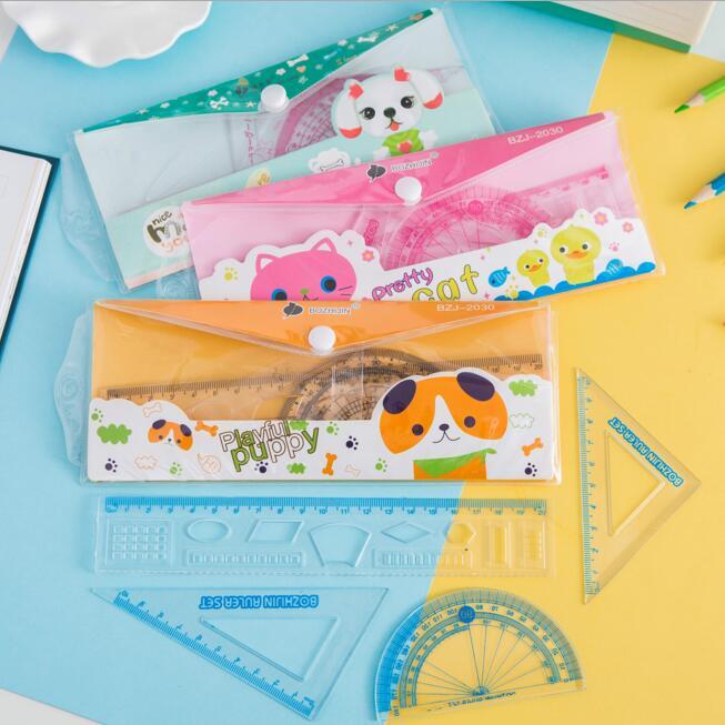 4pcs/set Plastic Students Kids Straight Ruler Maths Geometry Study Tools School Stationery Wholesale Cheap Price
