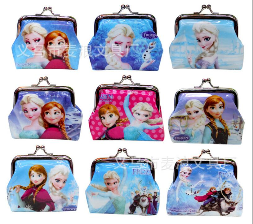 2pcs / Lot Coin Purses Square Hasp PVC Coin Purse Girls Snow Queen Ice Wallet Chilldren Student Pencil Bags