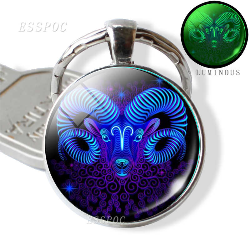 12 Constellation Luminous Key Chains Glass Cabochon Pendant Zodiac Sign Key Rings Holder Birthday Gift Glow In The Dark