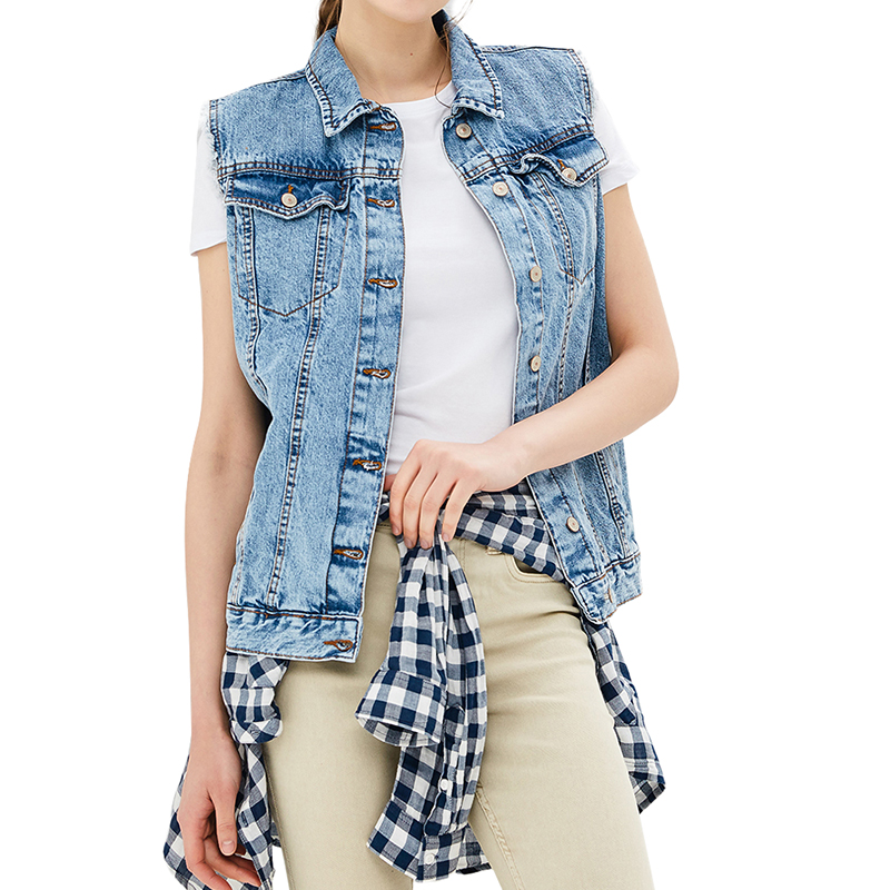 Vests MODIS M181D00299 women vest jacket sleeveless jackets for female TmallFS alluring stand collar sleeveless hollow out ruched crop top for women