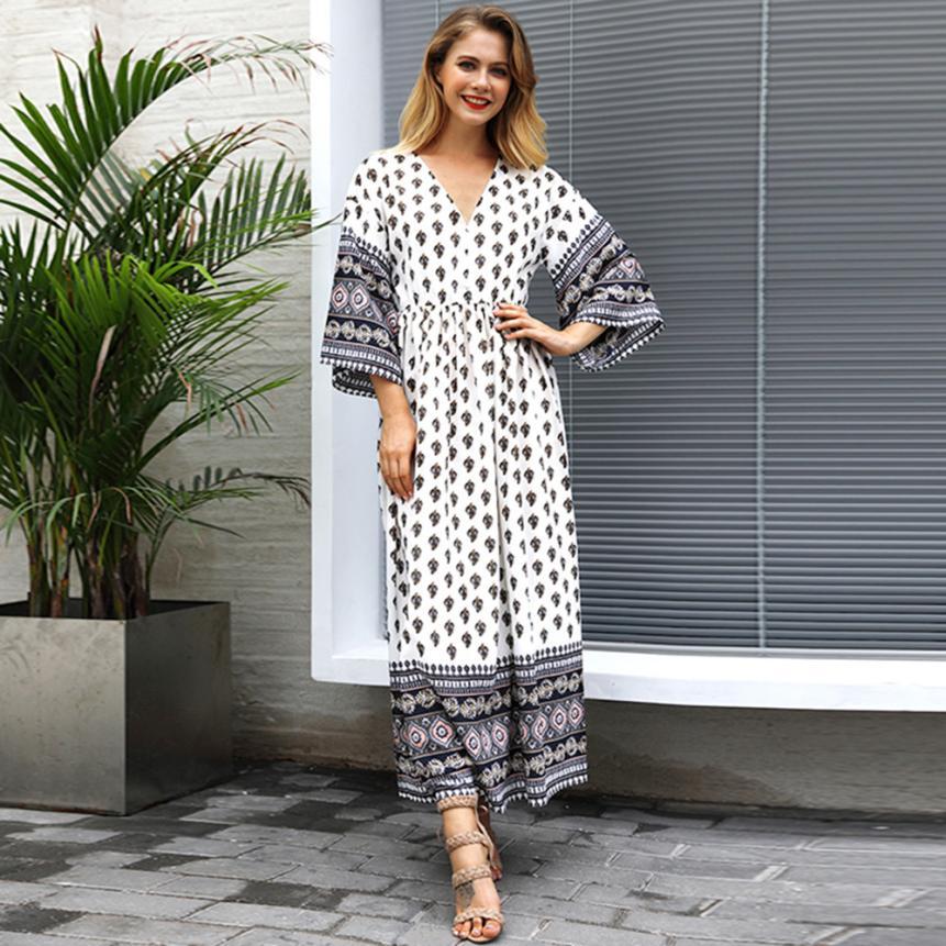 900d971677f7 HAMBODER 2018 Women Vintage Printed V Neck Long Maxi Dress Holiday Party  Loose Dress Boho party