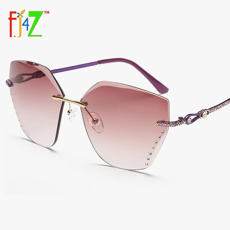 F. J4Z Vintage Lunettes De Soleil de Mode De Luxe Dames En Cristal Designer Exclusif Embellissement Bras Lunettes de Soleil UV400 Oculos de sol