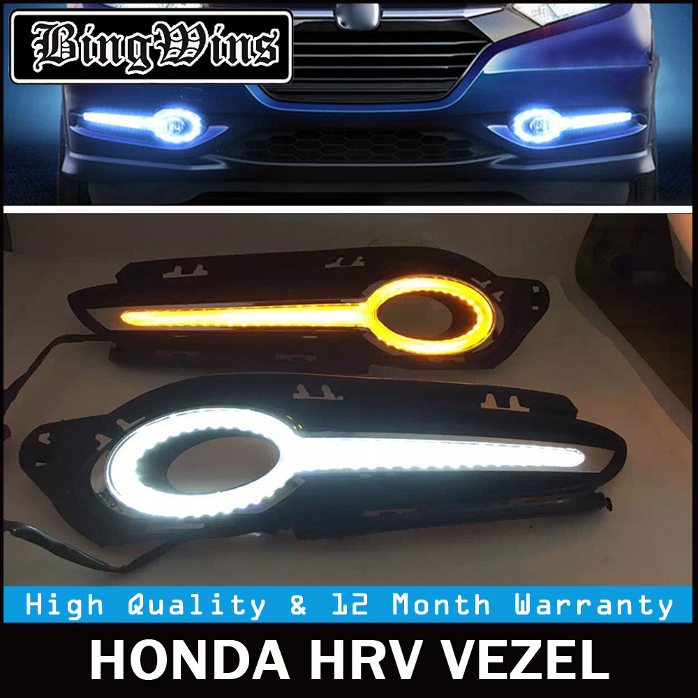 цена на BINGWINS 2PCS car LED DRL Daytime Running Lights fog lamp Turn Signal and dimming style for Honda HR-V HRV Vezel 2014 2015 2016