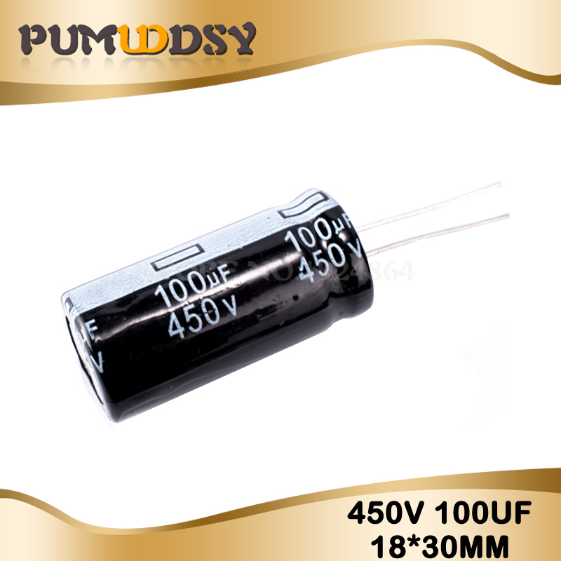 5PCS Higt Quality 450V100UF 18*30mm 100UF 450V Electrolytic Capacitor