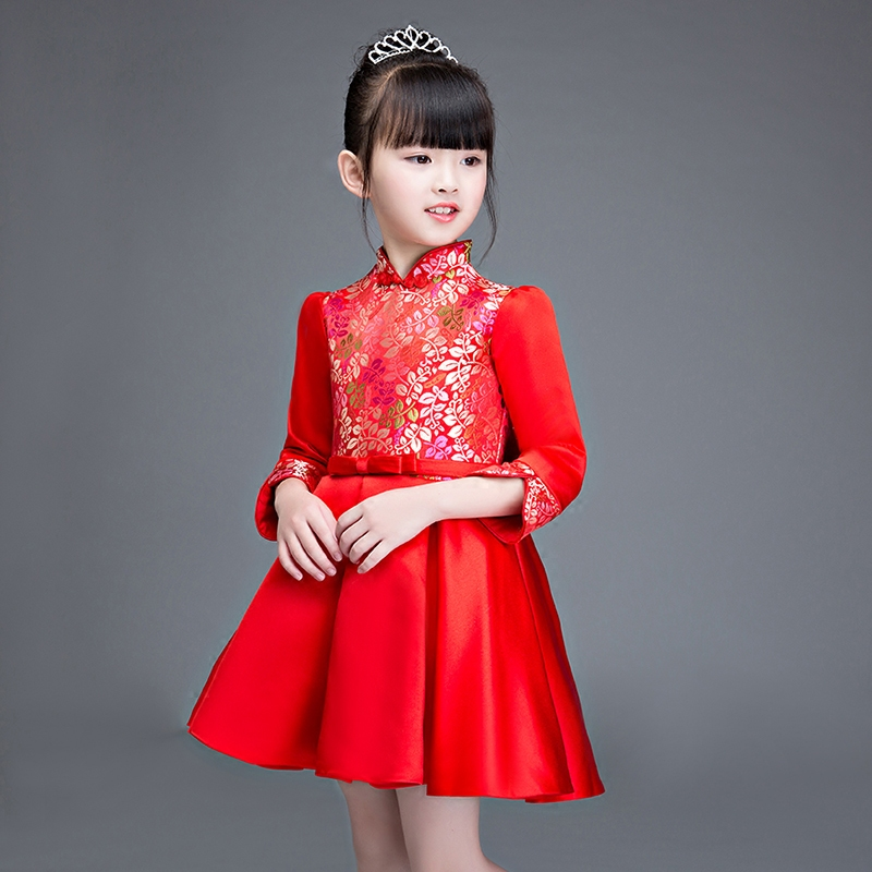 New Arrival Girls Kids Chinese Retro Red Cheongsam Party dress Children Autumn Winter Birthday Party Christmas New Year Dress music note party swing dress