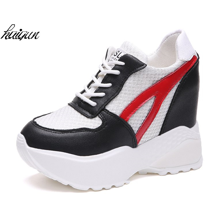 Hot Sales New Spring Autumn 11cm High Hidden Wedge Heels Casual Shoes Mesh Womens Elevator High-heels Shoes for Women