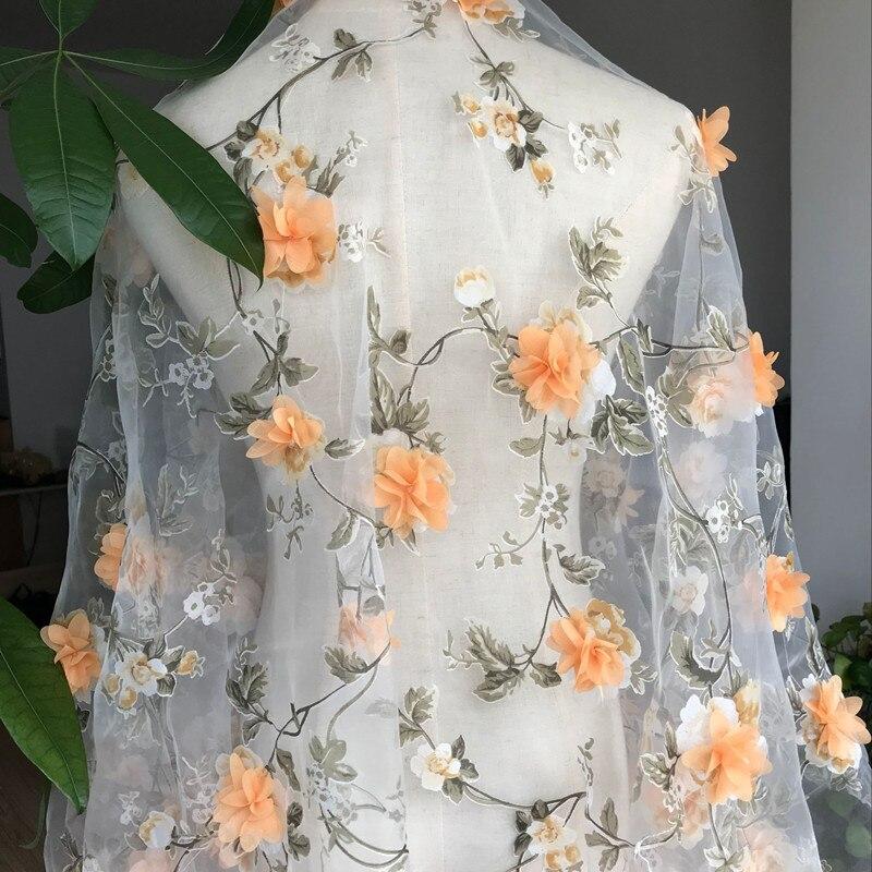Diy Wedding Gowns: 1Yard Width 140cm Organza 3D Orange Rose Embroidered Lace