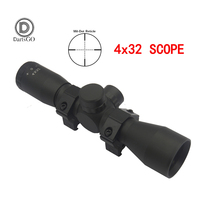 DDartsGO 4X32 Mil DOT Reticle Optical Sight Sniper Scope Outdoor Hunting Riflescope Tactical Riflescope With11/20MM Rail Mount
