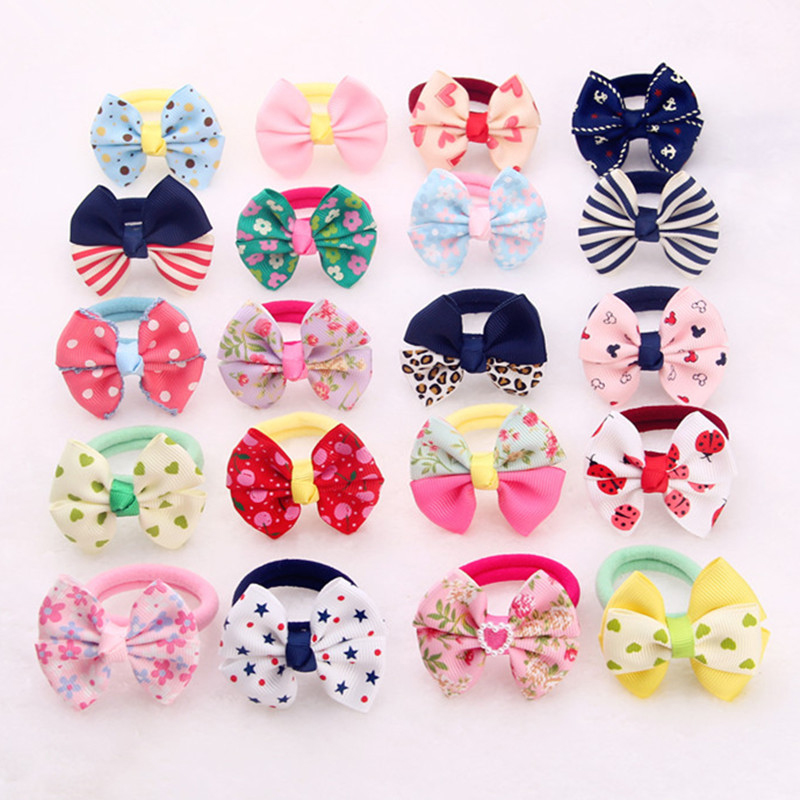 New 10pcs/lots little Girls Cute Hair Rope Fluffy Protect Bow mini Elastic Hair Band 1pc new cute women girls colorful sun flower hair band hair clip hair rope 5colors