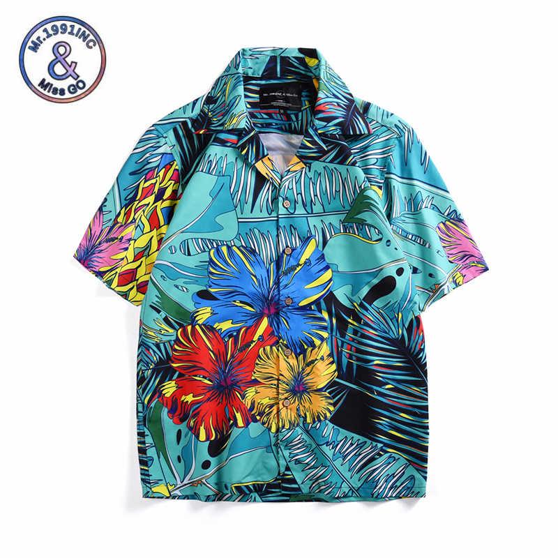 f3f56199a4 Mens Summer Beach Hawaiian Shirt 2019 Brand Short Sleeve Tropical plant  print Shirts Men Casual Holiday