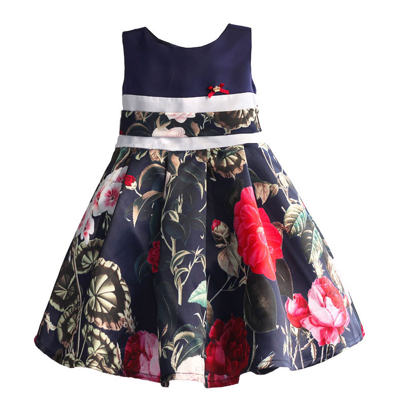 Brand Children Kids Dresses Floral Print Baby Girl Dress Fashon Belt Cotton Sleeveless Girls Clothing for Party Birthday in 3-8T kids dresses for girls 2017 girls dresses in black and white floral print dress bow sleeveless tutu teenagers girls clothing 12