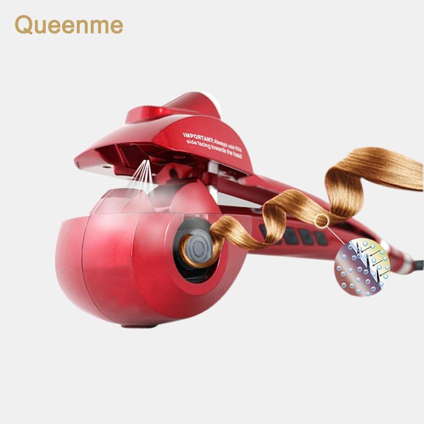 Queenme rizador automático Spray de vapor cuidado del cabello herramientas de peluquería Magic Curling hierro Curl titanio cerámica Wave Styler del pelo