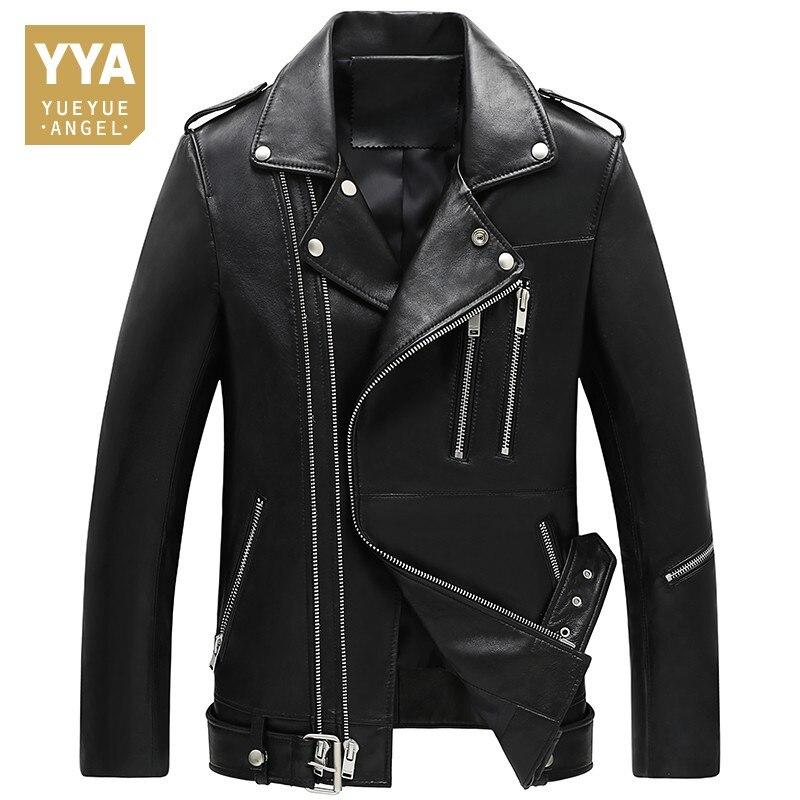 2019 Jaqueta Masculina Male Biker Jacket Pilot Leather Jacket Sheepskin Coat For Men Slim Zipper Genuine Leather Mens Jackets мужские кожанные куртки с косой молнией