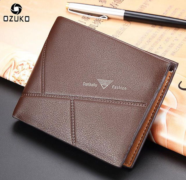 d0e30d35469 OZUKO 2018 New Leather Men s Wallet Card Holder Fashion Travel Short Design  Purses Wallet Men Luxury Brand Dollar Price Clutch