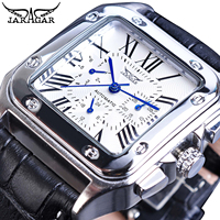 Jaragar Fashion Square White Dial Men's Automatic Mechanical Watch Date Roman Analog Reloj Male Leather Wristwatch Montre Homme