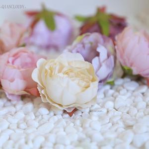 Image 3 - 2 pieces DIY Retro silk Artificial flowers European Peony bud flower heads for Wedding Garland D25