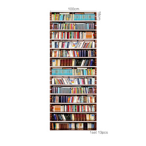 Image 2 - Big Size Wall Stair Sticker Of 13pcs, Fake Books DIY 3D Stairway Stickers Bookshelf Stairs Stickers Floor Wall Decor Decals