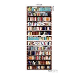 Image 2 - Grande taille mur escalier autocollant de 13 pièces, faux livres bricolage 3D escalier autocollants étagère escaliers autocollants sol mur décor Stickers