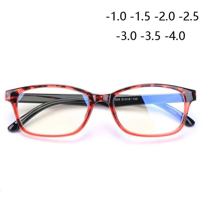 TR90 Square Finished Myopia Glasses Women Men Short-sight Eye Glasses Red Frame Myopia Eyewear -1.0 -1.5 -2.0 -2.5 -3 -3.5 -4.0