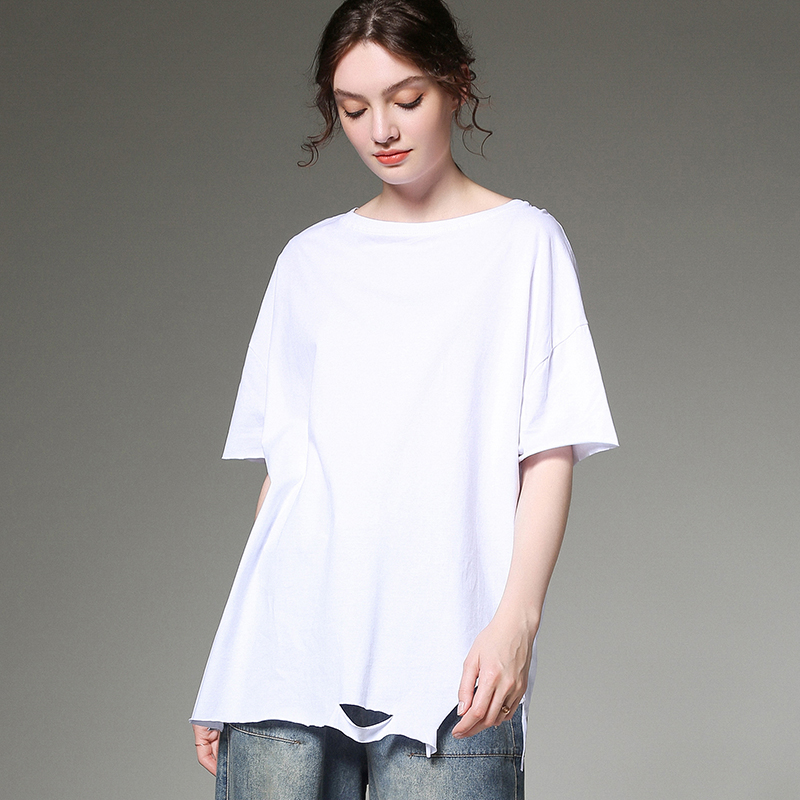 Grande taille dames T-shirt style décontracté été nouveau trou de mode tricot col rond à manches courtes t-shirts lâche grande taille solide hauts noirs nouveau